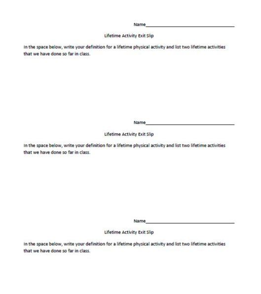 PE-Lifetime Activity Exit Slip